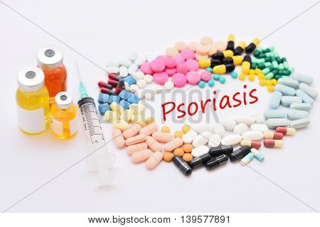 Syringe with drugs for Psoriasis treatment, medical concept