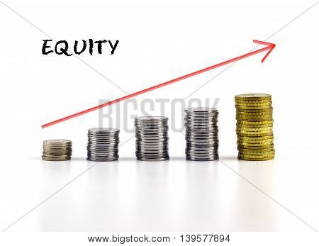 Conceptual Image. Stacks Of Coins Against White Background With Red Arrow And Equity Words.