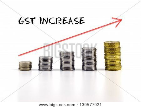 Conceptual Image. Stacks Of Coins Against White Background With Red Arrow And Gst Increase Words.