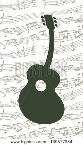 Swinging Guitar Silhouette. Vector Illustration Of A Wavy Guitar Silhouette On A Notes Background