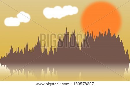 Vector horizontal illustration of forest thickets on river at sunset. Forest reflect design. Vector illustration EPS 10
