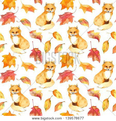 Autumn pattern - cute fox animal and autumn leaves. Seamless background watercolor