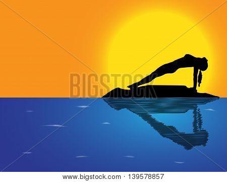Yoga Reverse Plank Pose Sea Background