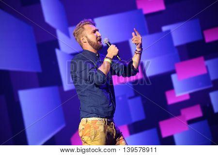 VITEBSK, BELARUS - JULY 17:Russian pop singer Bazil performs during the 25th Slavyansky Bazar Festival on July 17, 2016 in Vitebsk, Belarus