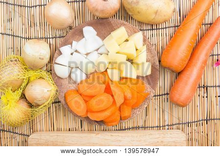 Vegetable for cooking/ cooking Japanese pork curry paste concept /Top view