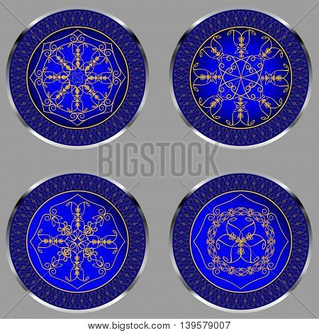 Decorative round figure with abstract ethnic pattern on blue background