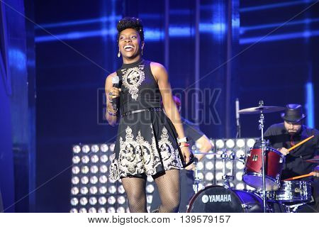 VITEBSK, BELARUS - JULY 17: US singer Iyeoka performs during the 25th Slavyansky Bazar Festival on July 17, 2016 in Vitebsk, Belarus