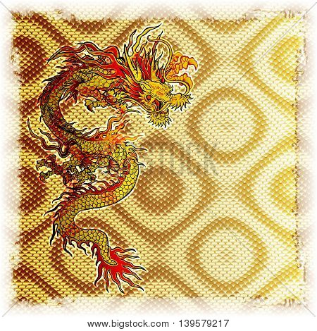Gold background plate with a Chinese dragon there is a place for your text or image.