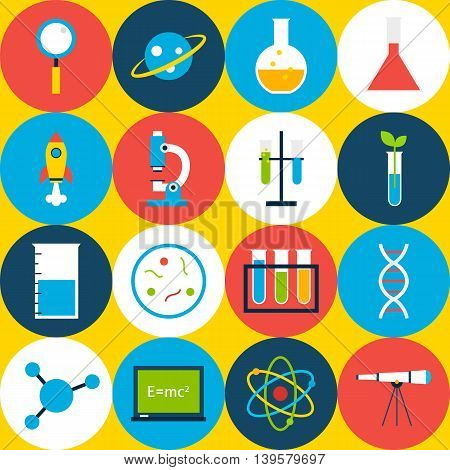 Yellow Tile Science Background with Circles. Flat Style Vector Seamless Pattern. Education and School.