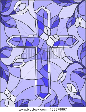 Stained glass illustration with a cross in the sky and flowersblue tones, vector