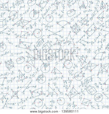 Seamless pattern on the theme of learning and geometrythe formulas and the chart on the notebook sheet in a cage, vector