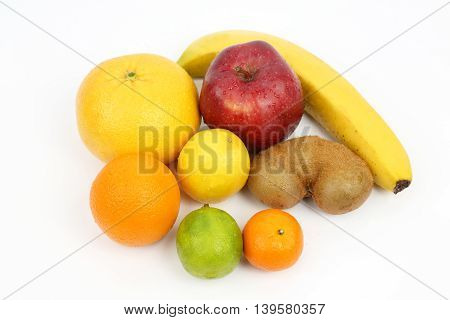 set of different fruits on white background