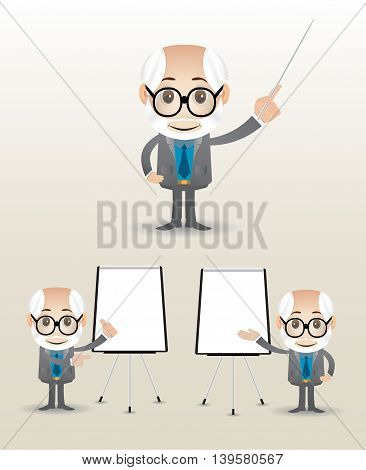adult businessman doing a presentation with standingboard