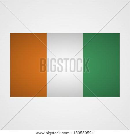 Ivory Coast flag on a gray background. Vector illustration