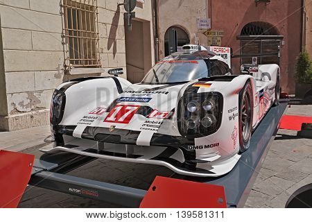 BRISIGHELLA, RA, ITALY  - JULY 17: the racing car Porsche 919 Hybrid winner of the World Championship 2015 Le Mans Prototype 1-Hybrid category exposed during the meeting