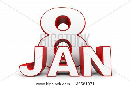 January 8. 3D Text On White Background.