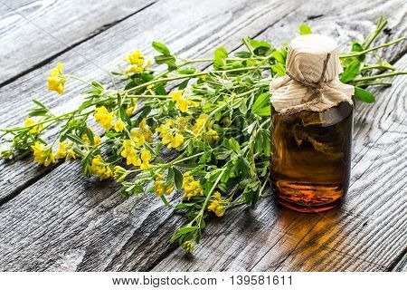 Medicinal plant Common Birds-foot Trefoil (Lotus corniculatus) and pharmaceutical bottle on a dark wooden table. Used in herbal medicine before flowering (flowering plant poisonous) honey plant. Selective focus