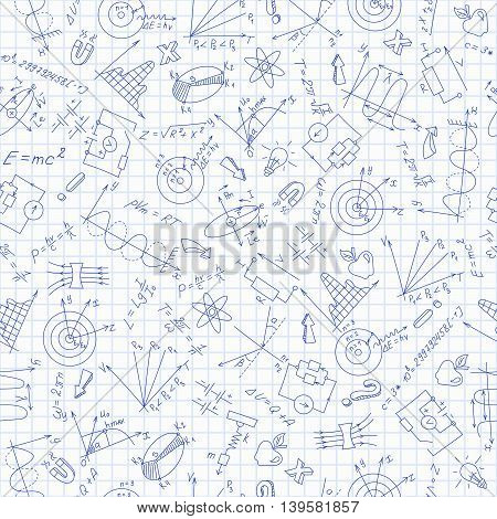 Seamless pattern with formulasgraphs and equipment as the subject of physicsdark blue outline on notebook sheet in a cage, vector