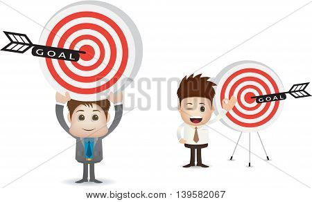 marketing goal illustration with two man character