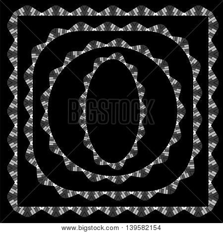 Set of Different Grey Frame Isolated on White Background