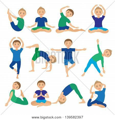 Kids Yoga Poses Vector Illustration. Child doing exercises. Posture for Kid. Healthy Children Lifestyle. Babies gymnastics. Sports Boys on White Background. Oriental Meditation and Relaxation.