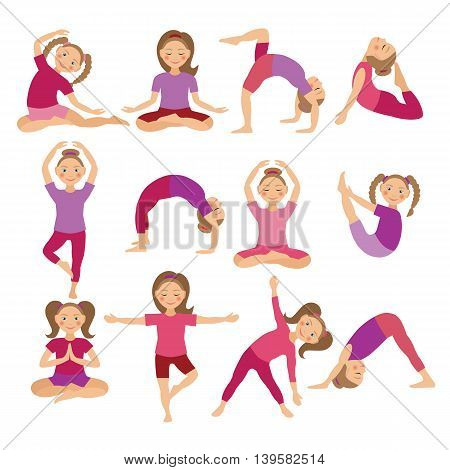 Kids Yoga Poses Vector Illustration. Child doing exercises. Posture for Kid. Healthy Children Lifestyle. Babies gymnastics. Sports girls on White Background. Oriental Meditation and Relaxation.