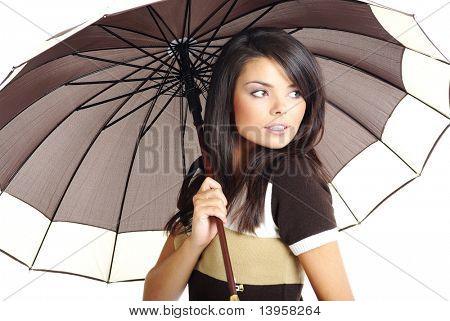otoño chica con paraguas marrón