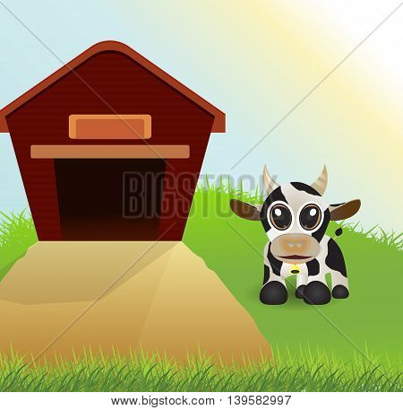 cute cow on grass field and barn as background