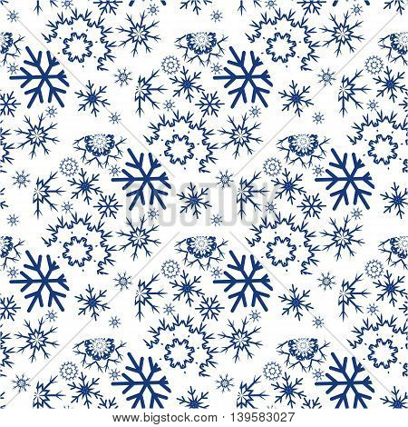 Illustration of the seamless background with dark blue snowflakes