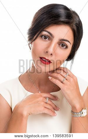 Portrait of a beautiful elegant woman on a white background