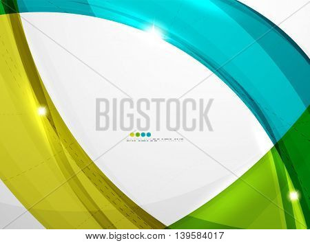 Leaf shape wave abstract background. Wave elements with glossy light effects