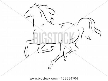 Sketch of silhouette of running horse  - vector