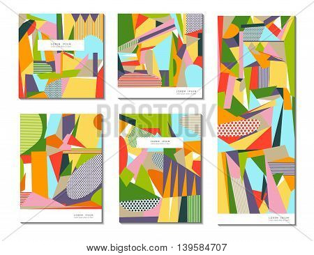 Vector set of of abstract geometric cards. Use for your Presentation Flyers Brochures Leaflets Posters Business Cards and Document Cover Pages Design