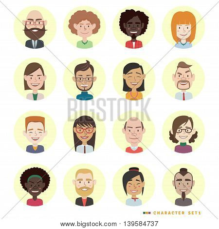 Set of diverse round avatars isolated on white background. Different ethnicities, clothes and hair styles. Cute and simple flat cartoon style