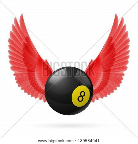 Red wings with black billiard ball on white background