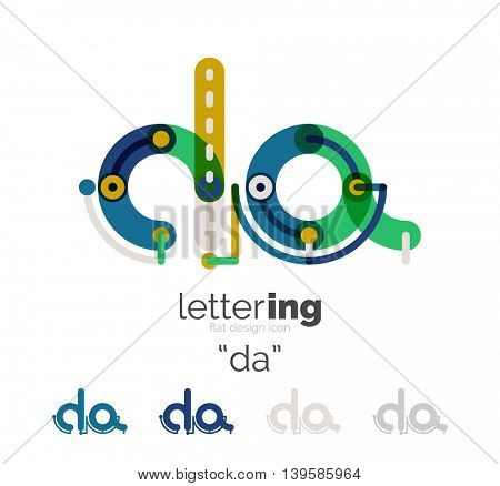 Letter logo line concept isolated on white. Connected color segments