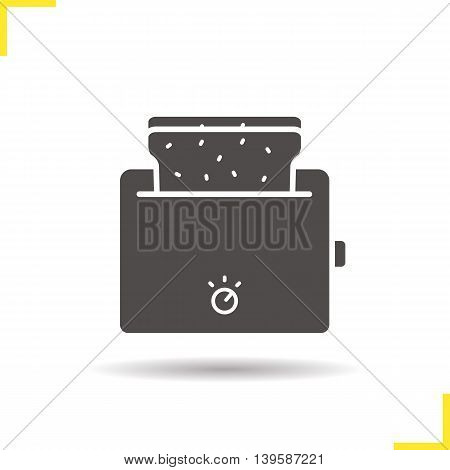 Toaster icon. Drop shadow silhouette symbol. Toasted bread vector isolated illustration
