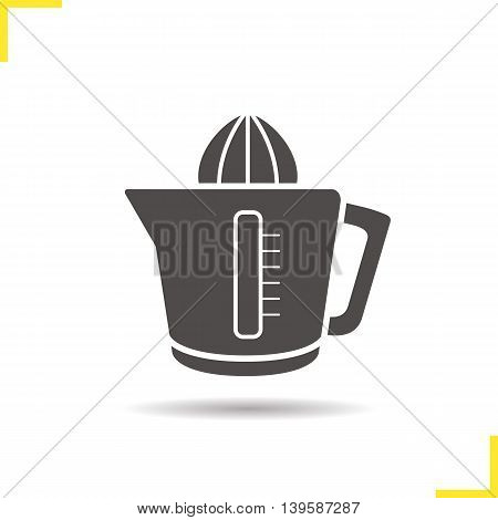 Juicer icon. Drop shadow juice extractor silhouette symbol. Squeezer. Vector isolated illustration