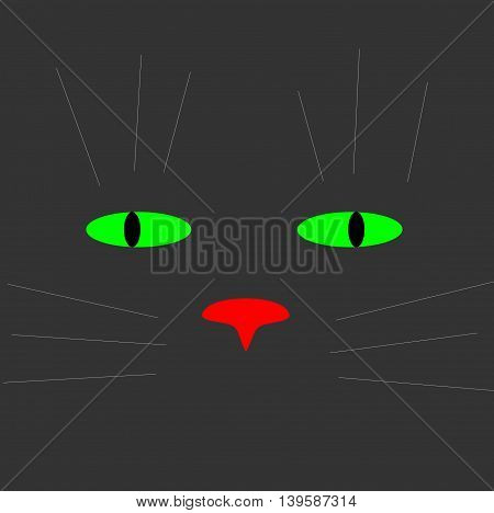 Picture a cat on a black background . illustrations .