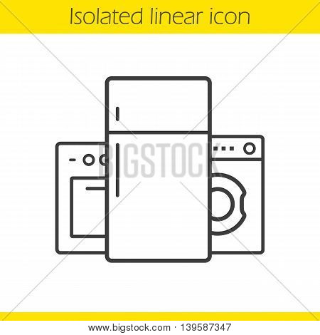 Appliances linear icon. Washing machine, fridge and electric cooker thin line illustration. Household appliances contour symbol. Vector isolated outline drawing