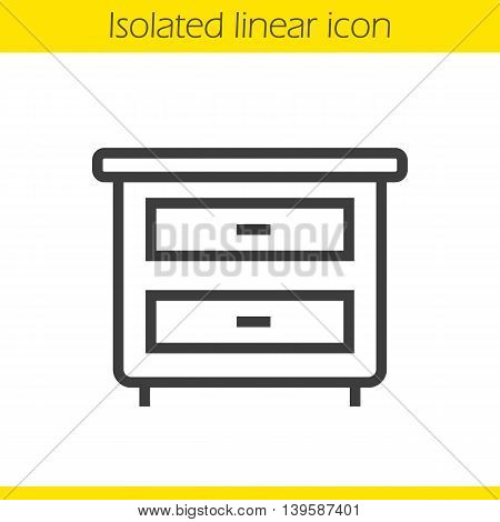 Nightstand linear icon. Thin line illustration. Bedside table with drawers contour symbol. Vector isolated outline drawing