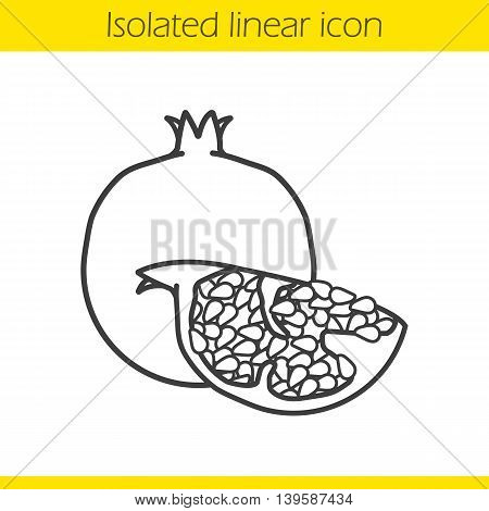 Pomegranate linear icon. Thin line illustration. Garnet fruit piece contour symbol. Vector isolated outline drawing