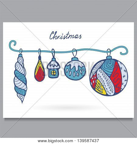 stock vector template for brochure card cover book invitation with doodle christmas pattern.