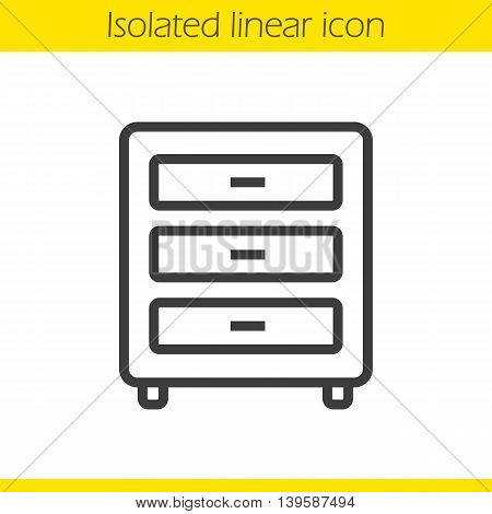 Dresser linear icon. Thin line illustration. Chest of drawers contour symbol. Vector isolated outline drawing