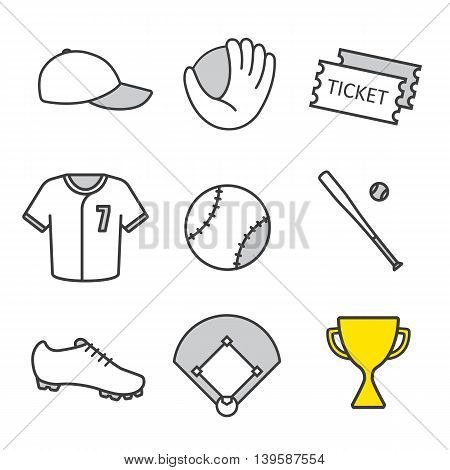 Baseball equipment linear icons set. Softball player's kit. Game tickets, cap, gold trophy and bat. Ball, uniform, field and mitt. Thin line contour symbols. Isolated vector illustrations