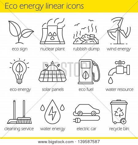 Eco energy linear icons set. Electric car, nuclear plant, rubbish dump, wind power, solar panels, green energy, water resource, bio fuel, cleaning service. Thin line. Isolated vector illustrations