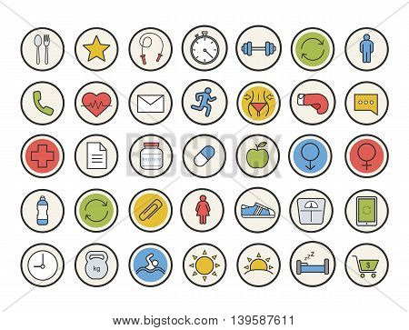 Sport and fitness color icons set. Healthy lifestyle. Gym training equipment. Daily timetable, healthcare, organizer, healthy diet and gender symbols. Vector isolated illustrations