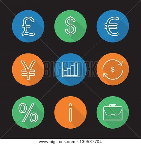 Banking and finance flat linear long shadow icons set. Great Britain pound, US dollar, euro and yen signs, growth chart, money exchange, percentage, information and briefcase. Vector line symbols