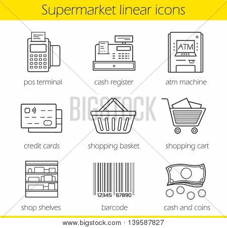 Supermarket linear icons set. Pos terminal, cash register, atm machine, credit card, shopping basket and cart, shop shelves, barcode, cash and coins. Thin line. Isolated vector illustrations