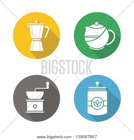 Coffee and tea flat design long shadow icons set. Moka pot, brewing teapot, coffee grinder, tea jar. Vector symbols